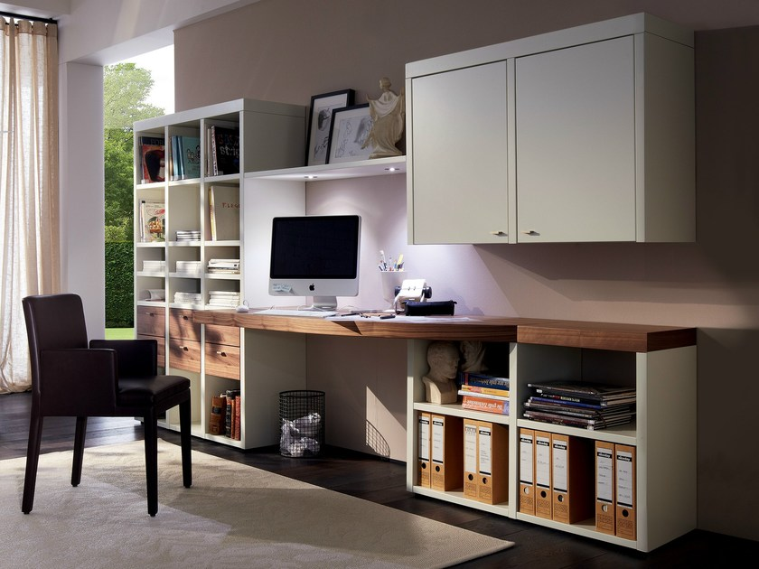 escritorio en nogal con estanter a colecci n encado ii by. Black Bedroom Furniture Sets. Home Design Ideas
