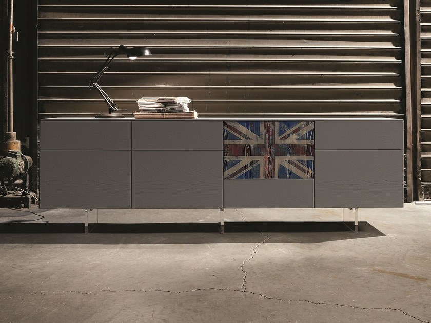 "Sideboard H.584 in grigio piombo color wood with ""union jack"" vintage door. With the addition of the transparent methacrylate support the total height becomes 760mm."