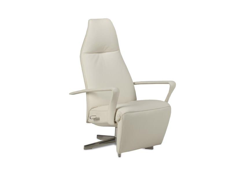 Reclining leather chair with headrest BOLERO - Jori