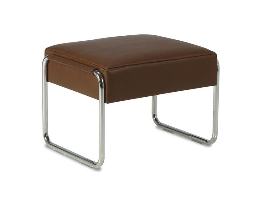 Sled base leather footstool BELLINO   Footstool by JORI