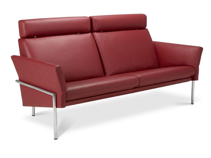 Leather sofa with headrest TOSCA | Leather sofa - Jori