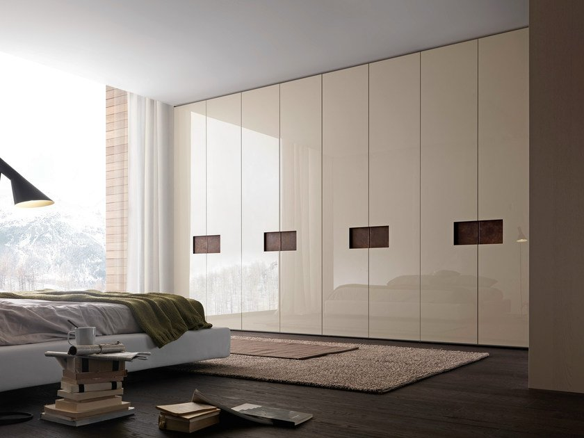 "Wardrobe with Alibi swing doors, gloss corda lacquered panels and handle inserts in ""aged"" marrone ebano leather."