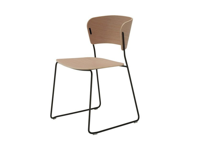 Sled base stackable wood veneer chair ARC | Wood veneer chair - Inclass Mobles
