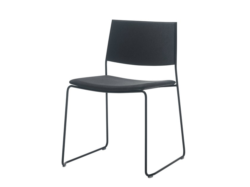 Sled base upholstered fabric chair MAY | Upholstered chair - Inclass Mobles