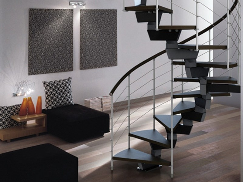 Scala a chiocciola elicoidale in acciaio e legno spiral for Escaleras rintal