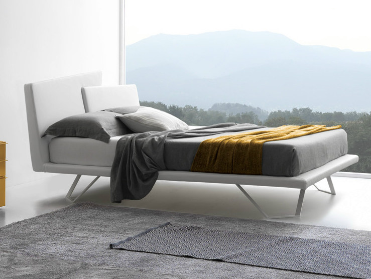Upholstered double bed with removable cover MEETING by Presotto