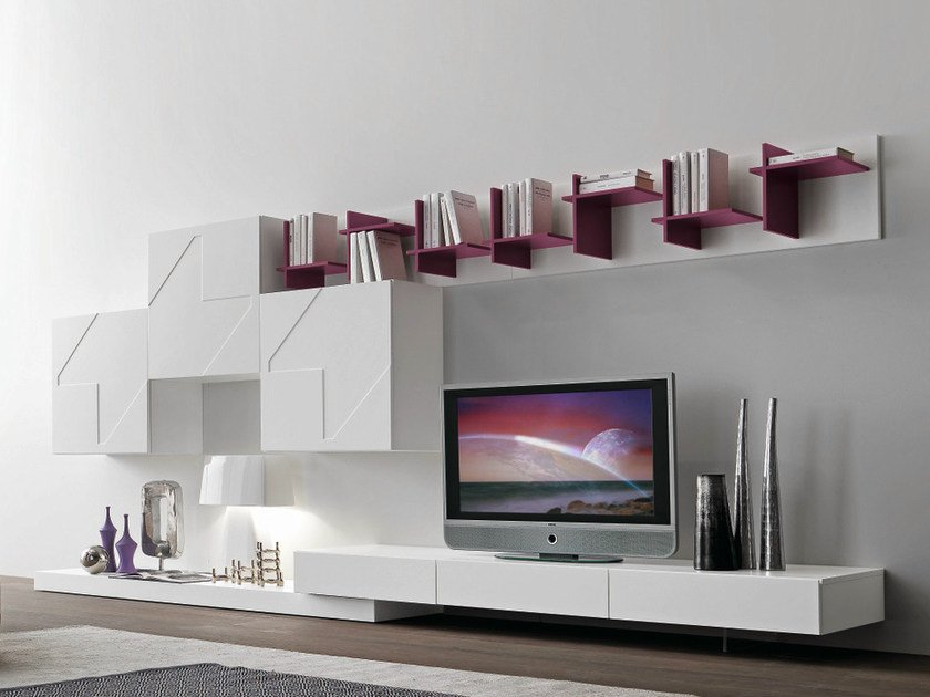 Parete attrezzata componibile laccata con porta tv cf52 for Presotto pareti attrezzate