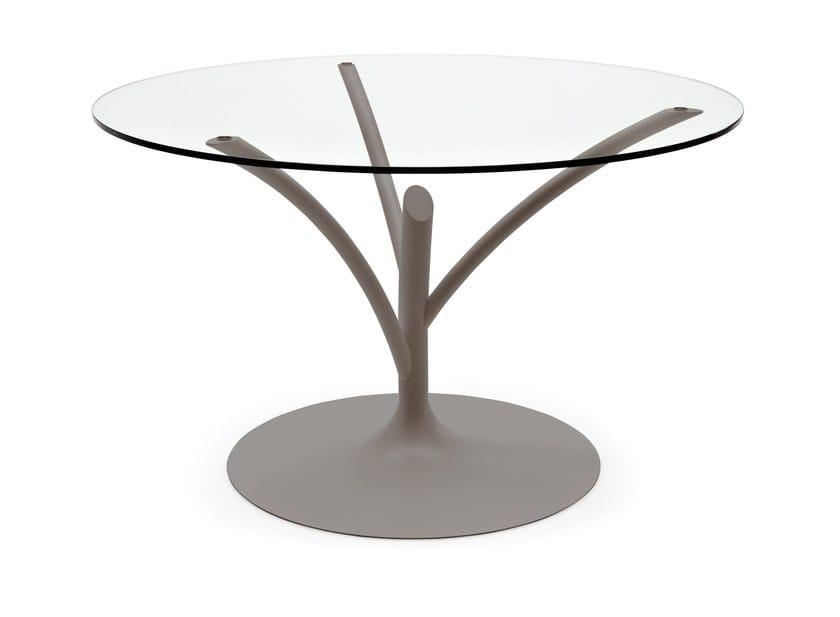 Tavolo rotondo in acciaio e vetro acacia calligaris for Tavolo cristallo allungabile calligaris