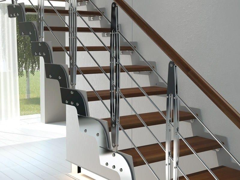 Baranda en acero y madera para escaleras leaf by rintal for Escaleras rintal