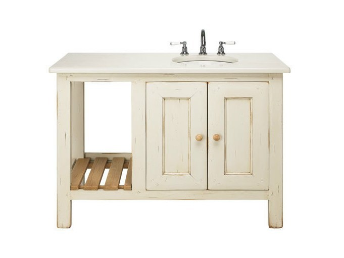 Meuble sous vasque simple en ch ne avec portes collection for Meuble sous vasque chene