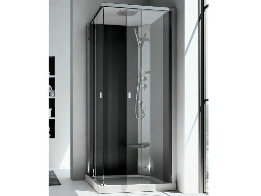 Box doccia angolare multifunzione in cristallo con for Doccia multifunzione