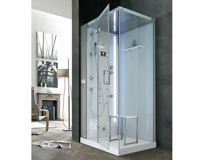 Multifunction Hydromassage crystal and steel shower cabin TALOS PLUS 105 - HAFRO
