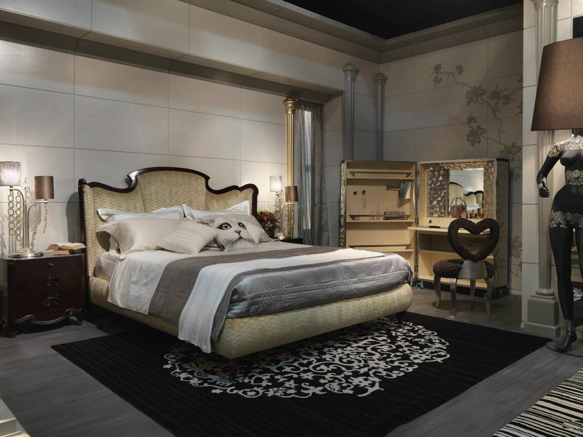 Bed with upholstered headboard MONTMARTRE | Double bed - Bizzotto