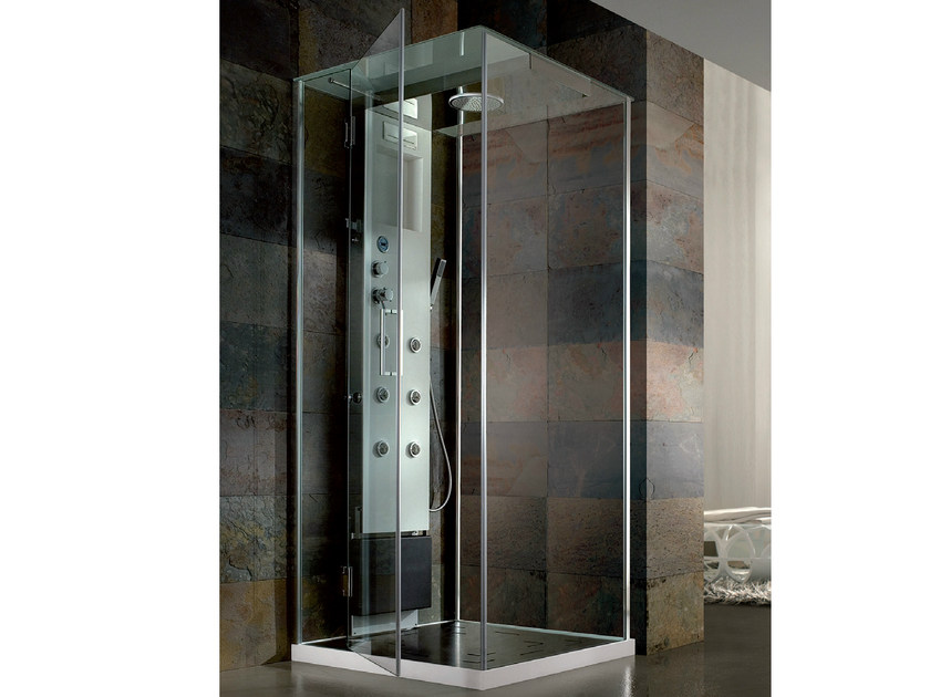 Corner multifunction crystal and steel shower cabin RIGENERA BOX | Corner shower cabin - HAFRO