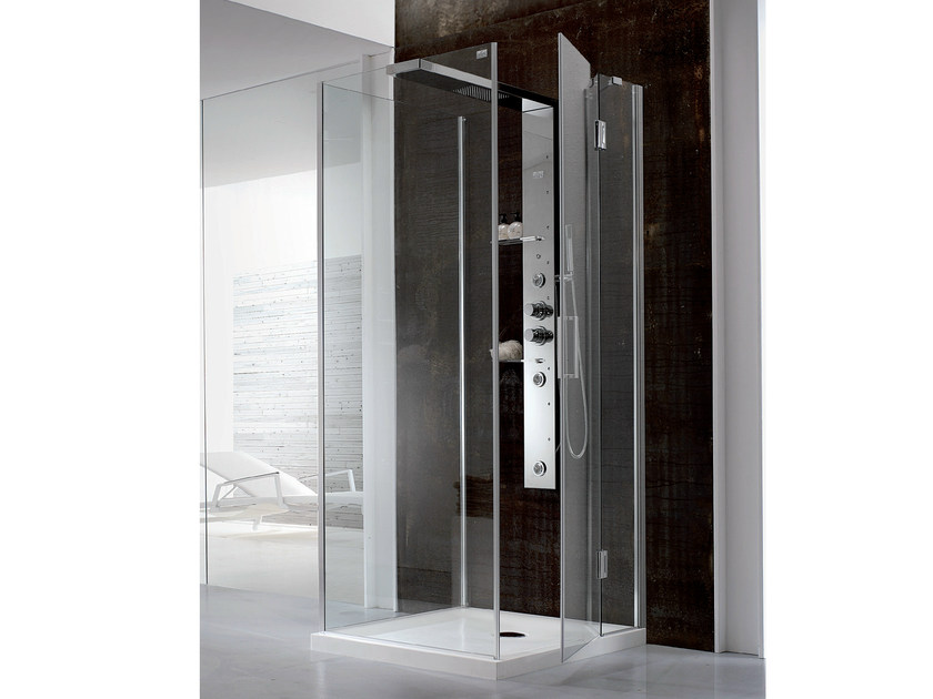Multifunction corner Hydromassage crystal and steel shower cabin BRISTOL BOX 6 - HAFRO