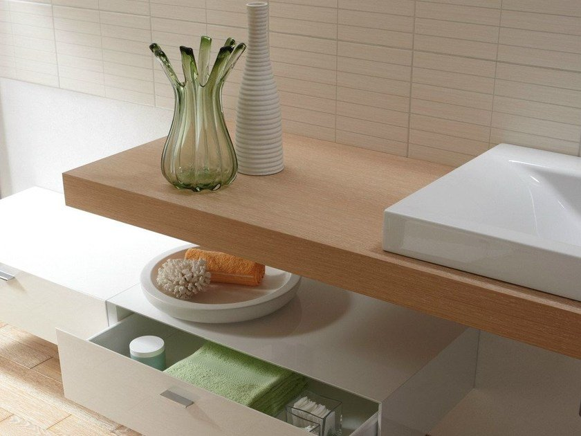 Single wooden washbasin countertop BETTEROOM TRÄGERPLATTE by Bette