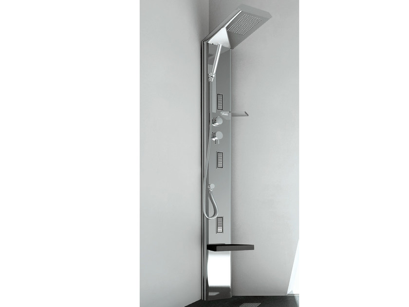 Corner steel shower panel with overhead shower QUARANTACINQUE S PLUS - GRUPPO GEROMIN