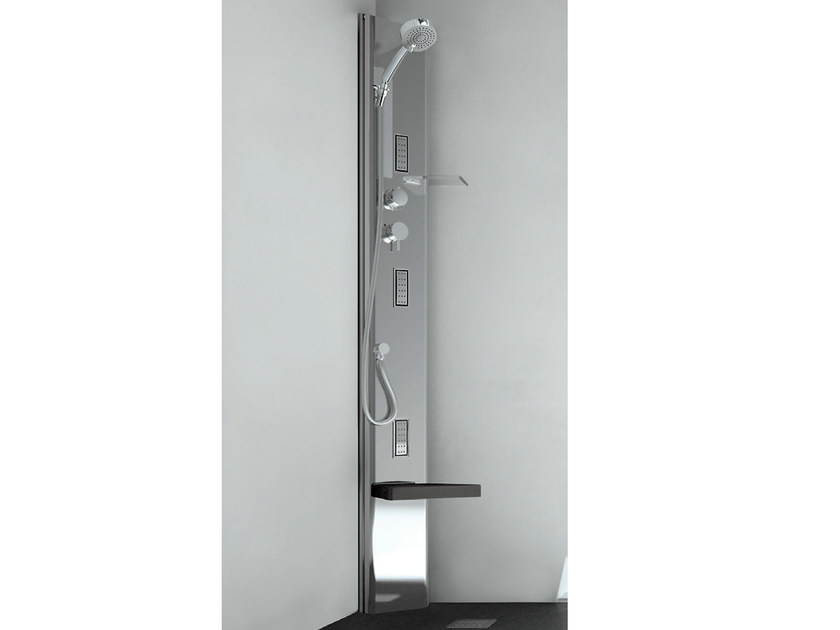 Corner thermostatic steel shower panel QUARANTACINQUE S BASE - GRUPPO GEROMIN