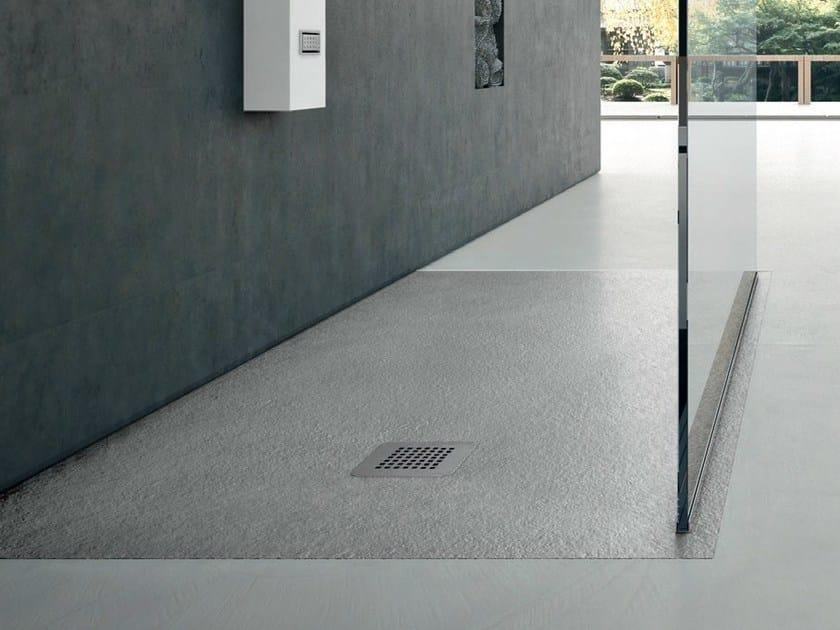 Piatto doccia antiscivolo filo pavimento rettangolare in materiale sintetico in stile moderno - Piatto doccia a filo pavimento svantaggi ...
