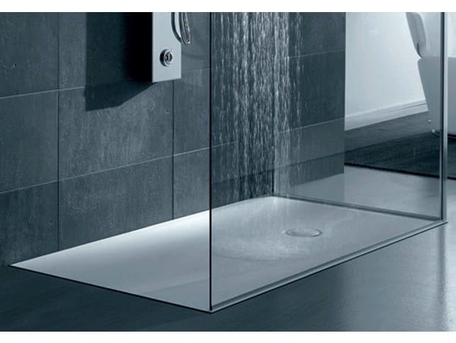 Piatto doccia filo pavimento rettangolare in corian piatto doccia filo pavimento gruppo geromin - Doccia a filo pavimento ...