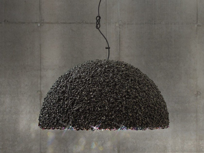 Handmade marble pendant lamp with Swarovski® Crystals THE DUCHESS LARGE GREY - Mammalampa