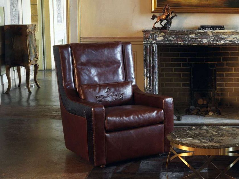 Upholstered leather armchair with armrests BRAVE by Formenti