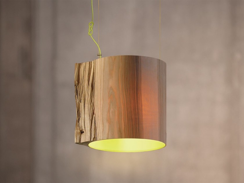 Handmade wooden pendant lamp THE WISE ONE GREEN - Mammalampa