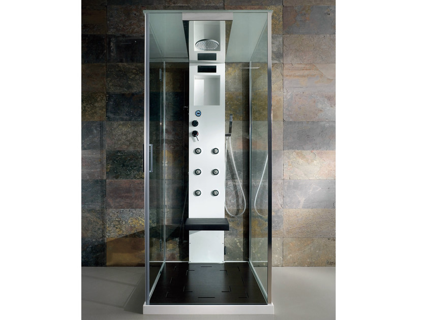 Multifunction crystal and steel shower cabin RIGENERA BOX | Shower cabin - HAFRO