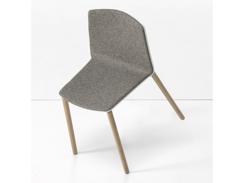 Upholstered stackable chair RAMA WOOD BASE - Kristalia