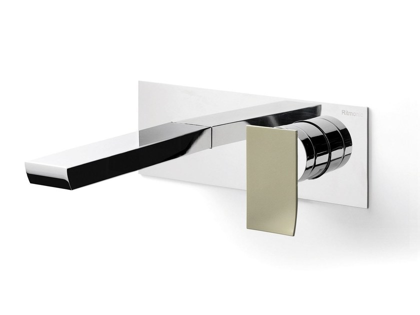 Wall-mounted washbasin mixer with plate TWEET | Wall-mounted washbasin mixer - RUBINETTERIE RITMONIO
