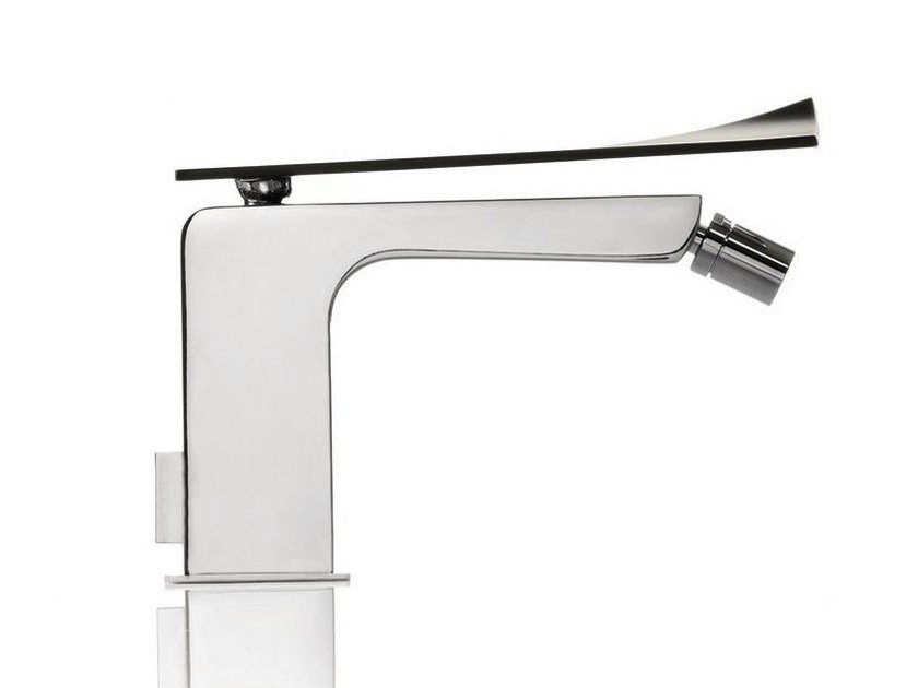 Chrome-plated countertop bidet mixer with swivel spout TWEET | Single handle bidet tap by RITMONIO
