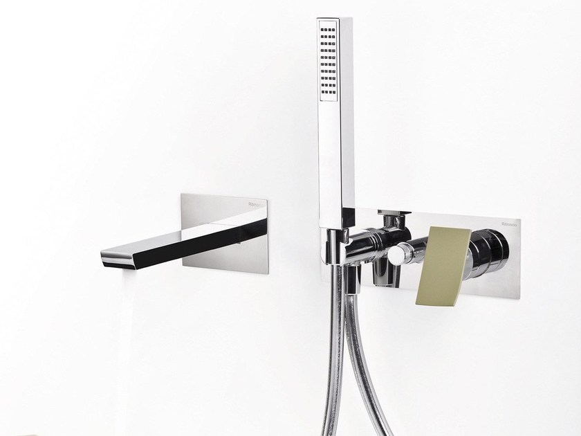Wall-mounted bathtub set with diverter with hand shower TWEET | Wall-mounted bathtub set - RUBINETTERIE RITMONIO