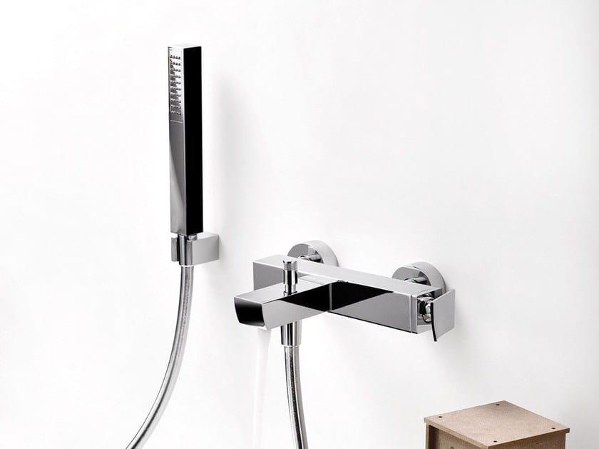 Wall-mounted bathtub mixer with diverter with hand shower TWEET | Single handle bathtub mixer - RUBINETTERIE RITMONIO