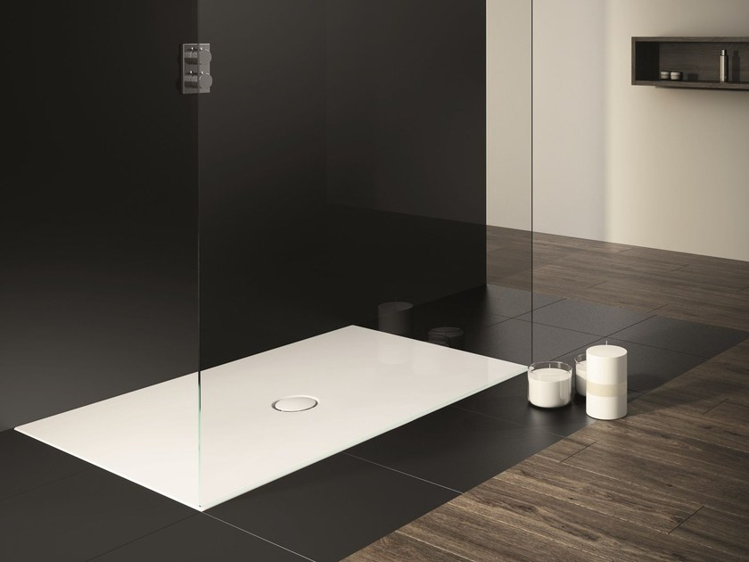 Flush fitting rectangular enamelled steel shower tray SCONA - Kaldewei Italia