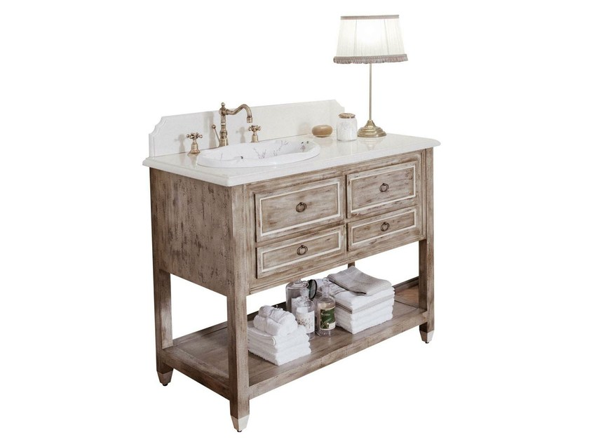 Single wooden console sink DUSTIN by GENTRY HOME