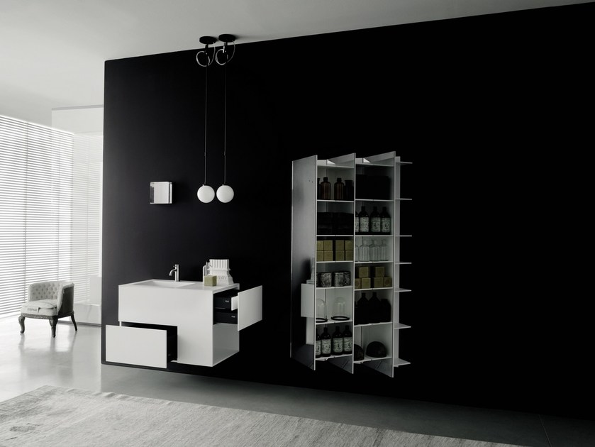 Solid Surface® wall cabinet with mirror CTLINE | Bathroom cabinet - Boffi