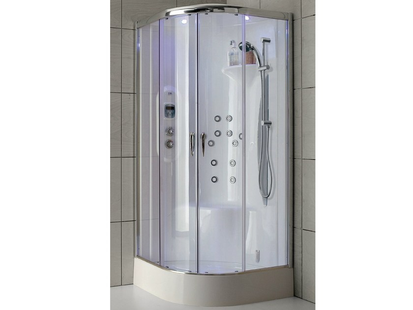 Multifunction shower cabin in aluminium and crystal glass NEW BI-SIZE by Gruppo Geromin