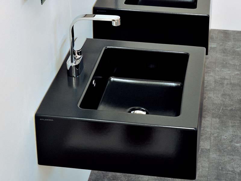 Countertop wall-mounted ceramic washbasin with overflow ACQUAGRANDE 60 | Wall-mounted washbasin - CERAMICA FLAMINIA