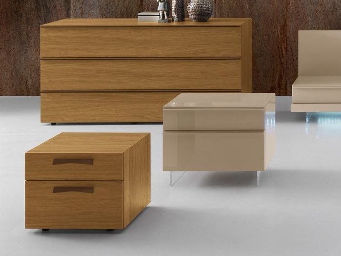 Wooden bedside table with drawers ONYX | Bedside table - Presotto Industrie Mobili