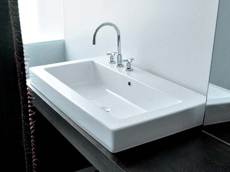 Inset rectangular ceramic washbasin ACQUAGRANDE 100 | Inset washbasin by CERAMICA FLAMINIA
