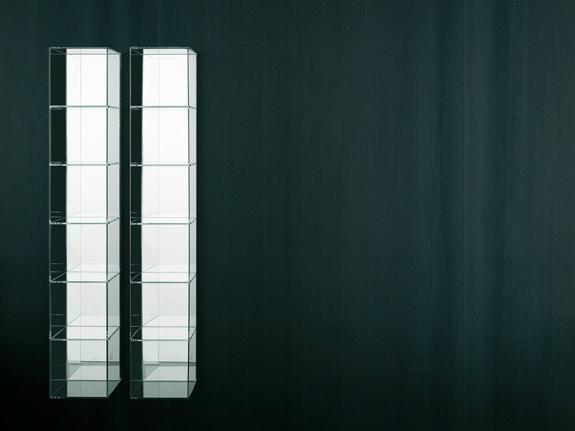 Tall open wall cabinet with mirror GLASS - Boffi