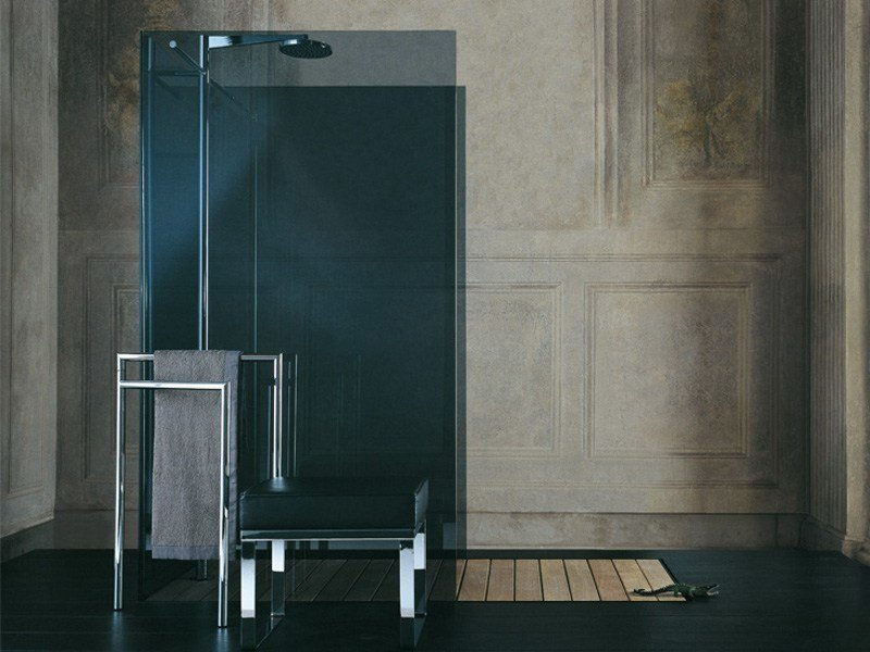 Tempered glass shower cabin with tray RASO-FILODOCCIA OPEN ISLAND by MEGIUS