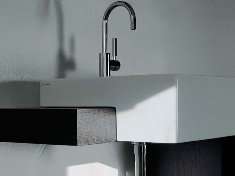 Semi-inset ceramic washbasin with overflow ACQUAGRANDE 60 | Semi-inset washbasin by CERAMICA FLAMINIA