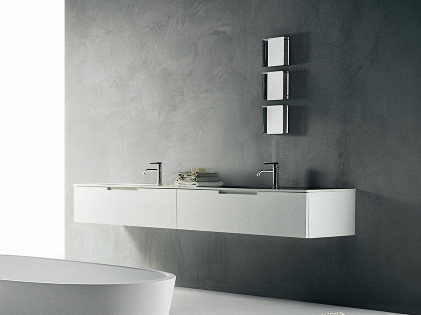 Wall-mounted Corian® vanity unit DUEMILAOTTO | Corian® vanity unit - Boffi