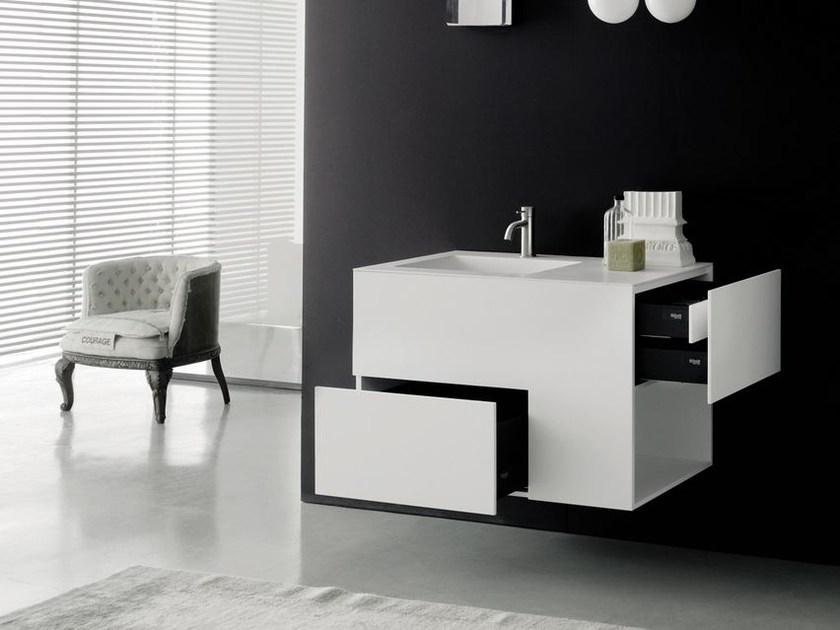 Wall-mounted washbasin with drawers QUADTWO - Boffi