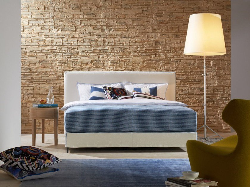 Double bed with removable cover with upholstered headboard Basis 18 + MÄANDER by Schramm Werkstätten