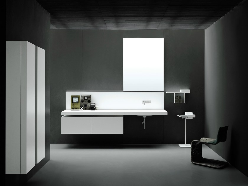 Washbasin with integrated countertop PIANURA | Washbasin with integrated countertop - Boffi