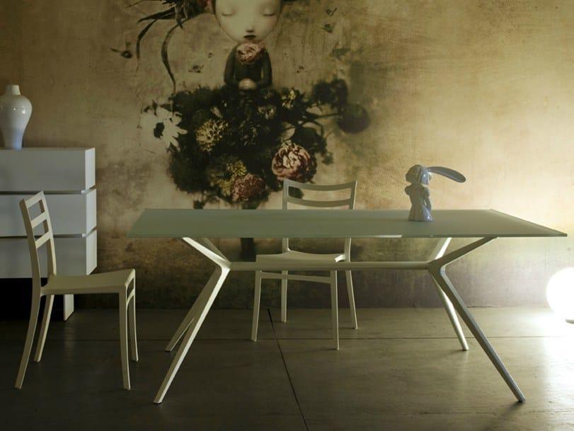 Tavolo da pranzo rettangolare in cristallo ex collezione for Tavolo da pranzo in cristallo