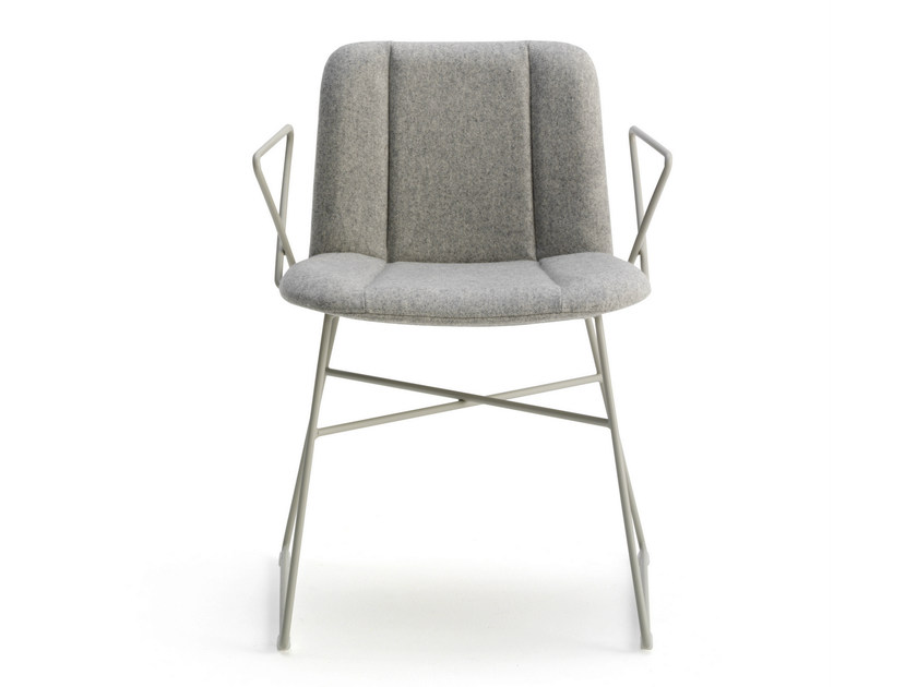 Sled base fabric chair with armrests HIPPY | Sled base chair - BILLIANI