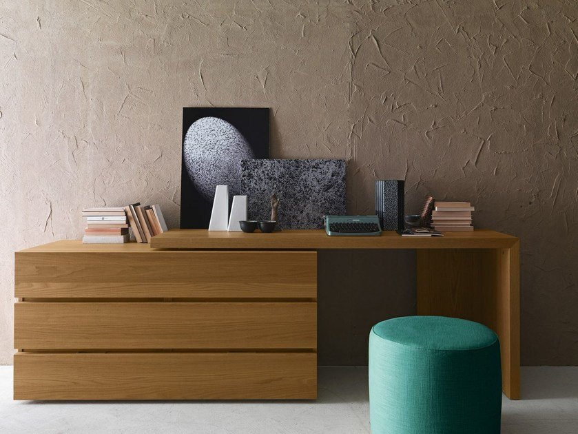 Oak writing desk with drawers Writing desk - Presotto Industrie Mobili